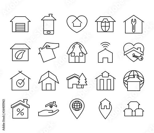 Fotografia house storage and home icon set, line style
