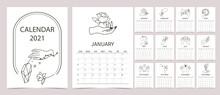 Line Hand Calendar 2021 With Rose,flower,crystal,sun In Boho Style