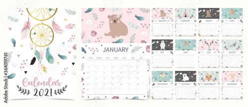 Obraz Cute boho calendar 2021 with bear, dreamcatcher, feather for children, kid, baby - fototapety do salonu