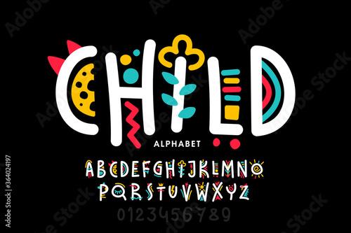 Playful style childish font