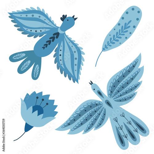 Fotografiet Flying blue birds in a folk art style