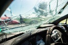 Closeup Of Crashed Car Window ...