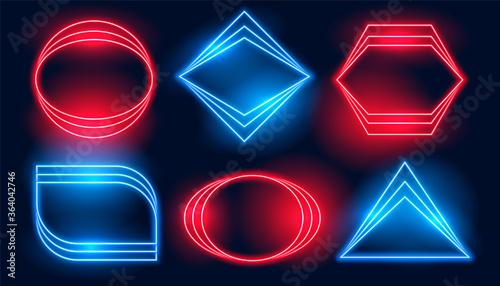 Fotografie, Obraz neon frames in six different geometric shapes