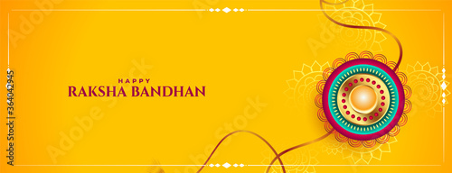 Fototapeta raksha bandhan festival yellow banner traditional design