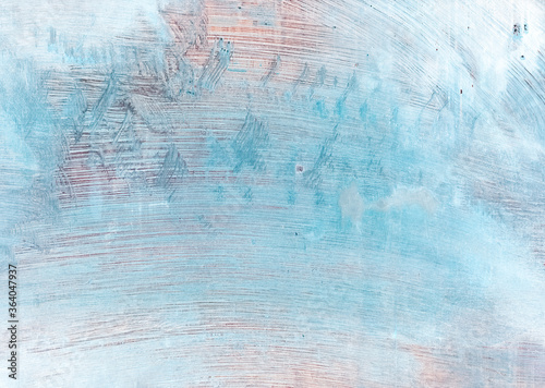 Fototapeta Acrylic abstract background. Painted wall. Blue brown smeared brush strokes texture. obraz