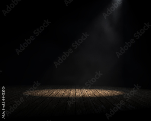 Obraz Product Showcase Background. Dark Studio Room with Spotlight and Light Smoke or Fog. Empty Space on Old Wood Planks Floor. 3D Render. - fototapety do salonu