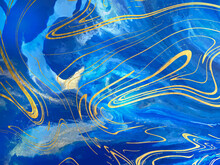 Blue Marble And Gold Abstract ...