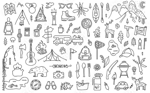 Foto Set of outline camping theme elements