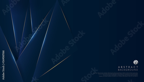 Photo Abstract dark navy blue premium background with luxury triangles pattern and gold lighting lines