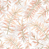 Watercolor seamless pattern with tropical plants in pastel pink color. Gentle nature elements. Leaf, foliage, branch, jungle flora. Summer background for wallpaper, textile, wedding decor - 364061975