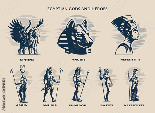 Fotografie, Tablou Set of Egyptian Gods and kings.