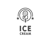 Circle Ice Cream Line Art Vintage Logo Design Vector Illustration