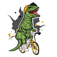 Dinosaur. Bright Vector Illustration. Cartoon Reptile. Tyrannosaur. Print On Clothes, Drawing For Postcards. Hipster. Bicycle.