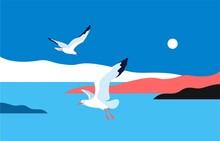 Sea Landscape With Gulls. Sea ...