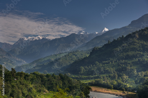 Budhi Gandaki river, a tributary of Gandaki/Narayani river as seen along  Manaslu Circuit trek route from Arughat Bazar to Jagat villages, Gorkha district, Nepal Himalaya, Nepal Canvas-taulu