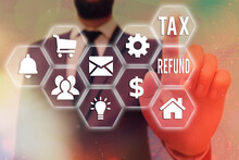 Text Sign Showing Tax Refund. Business Photo Text Excess Payment Of Paid Taxes Returned To Business Owners Grids And Different Set Up Of The Icons Latest Digital Technology Concept