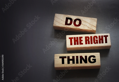Do the right thing words on wood blocks. Professional skills concept.