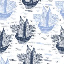 Yacht Hand Drawn Sketch Seamle...