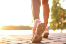 Runner Feet Running On Road Cl...