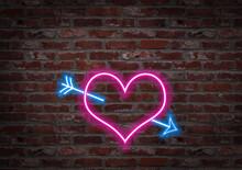 Hearth Shape Light Neon On A B...
