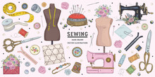 Vector Hand Drawn Sewing Retro Set. Collection Of Highly Detailed Hand Drawn Sewing Tools