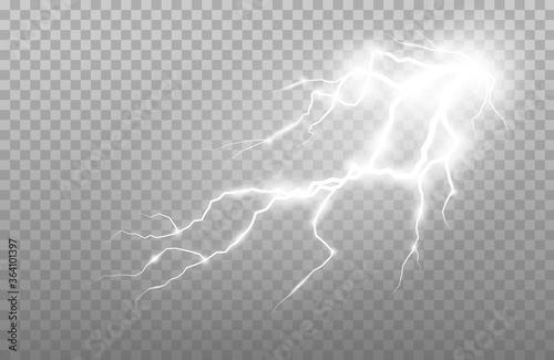 Fototapeta Realistic lightning and thunder strike