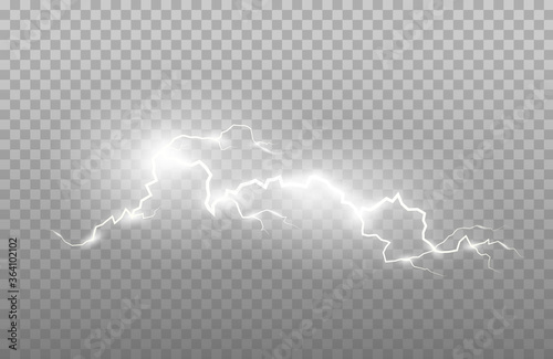 Obraz Realism of lightning and bright light effects isolated on a transparent background. Bright flashes and strong thunder - fototapety do salonu