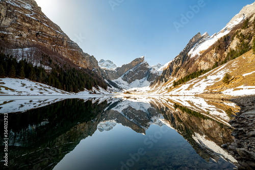 Photo Winter meets spring in the swiss alps