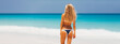 travel vacation wallpaper - Beautiful young pretty blonde girl in white bikini with white sand on her perfect sport sexy body relax in sea of white sand paradise tropical Maldives beach at sunny day