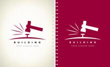 Construction Logo. Hammer And Nail Vector.