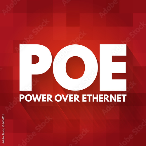 PoE - Power Over Ethernet acronym, technology concept background Canvas Print