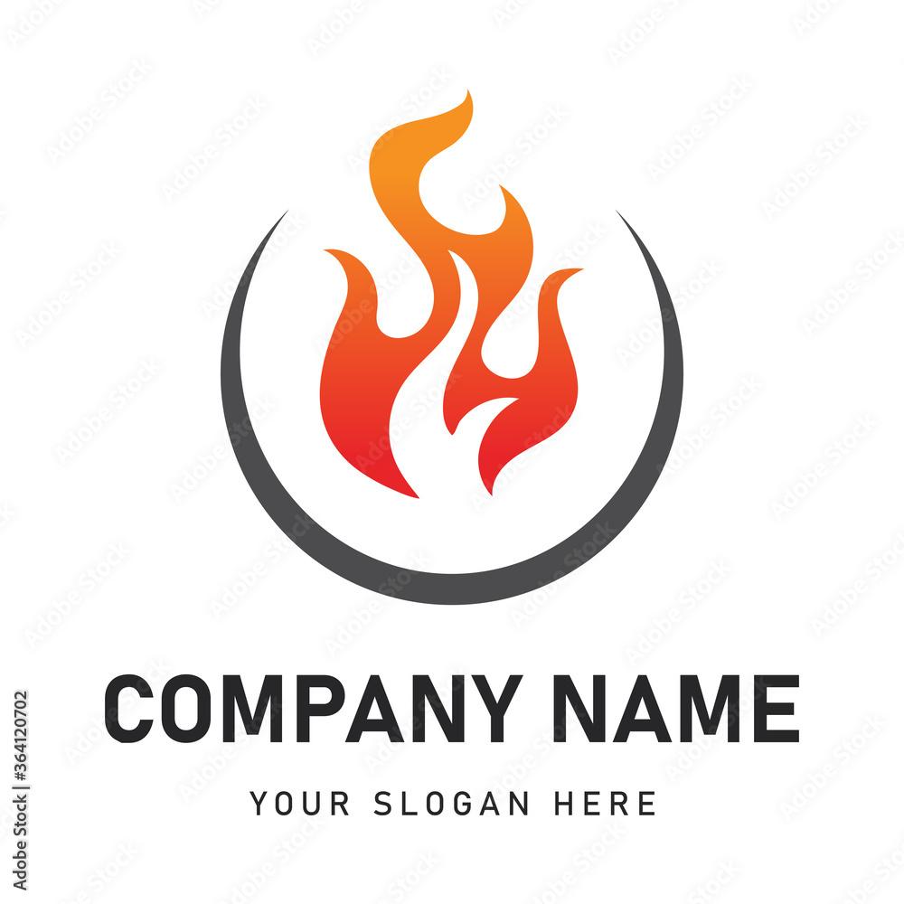 Fototapeta fire food logo for company