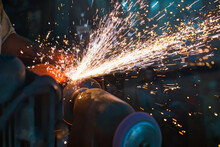 Hot Sparks At Grinding Steel M...