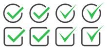 Set Check Mark And Cross Symbol Vector.Green Check Mark Icon In A Circle.Red Check Cross Icon In A Circle.Vector Illustartion