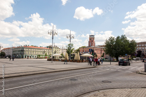 Tela Czestochowa, Poland, June 23, 2020: Buildings with a visible town hall in the ci