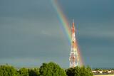 Fototapeta Tęcza - Wieża, tęcza, niebo