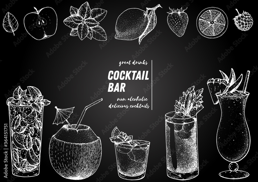 Fototapeta Alcoholic cocktails hand drawn vector illustration. Cocktails sketch set. Engraved style. Mojito, coconut cocktail, mai tai, bloody mary, pina colada.