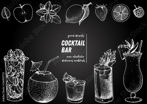 Fototapeta Alcoholic cocktails hand drawn vector illustration. Cocktails sketch set. Engraved style. Mojito, coconut cocktail, mai tai, bloody mary, pina colada. obraz