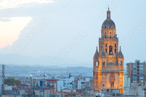 illuminated tower of the cathedral of murcia