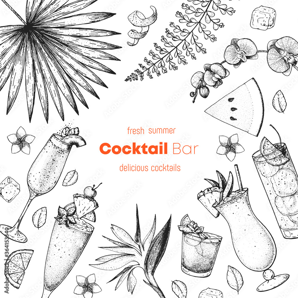 Fototapeta Alcoholic cocktails hand drawn vector illustration. Cocktails sketch set. Engraved style. Tropical collection. Summer time.