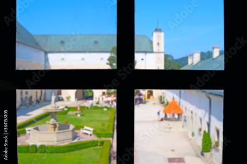 Photo Courtyard of medieval Cerveny Kamen (Red Stone Castle) near Casta village, Slovakia