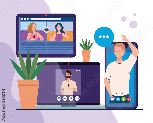 Fototapeta online party, meeting friends, people have online party together in quarantine, party web camera online holiday vector illustration design obraz