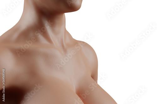 Valokuvatapetti Female neck and cleavage closeup