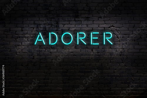 Night view of neon sign on brick wall with inscription adorer Canvas Print