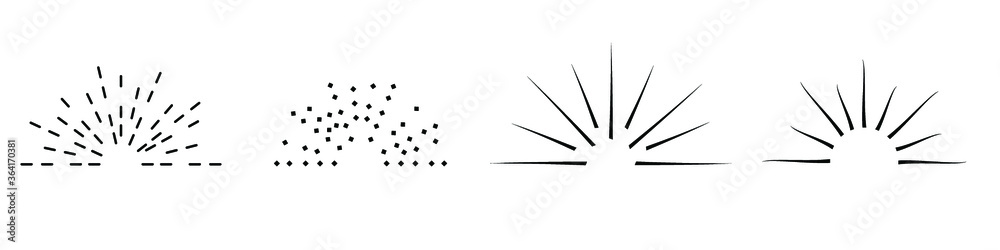 Fototapeta Sunburst set isolatedon white background. Sunburst in black and white color. Sunburst in monochrome flat style - stock vector.