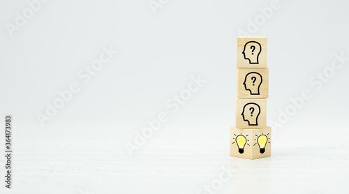 cubes showing a brainstorming session on white background