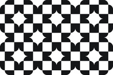Simple Black And White Checkered Repeating Pattern With A Star Shape, Vector Illustration