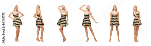 Fényképezés Beautiful girl in gold and black dress isolated on white