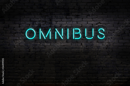 Fotografie, Obraz Night view of neon sign on brick wall with inscription omnibus