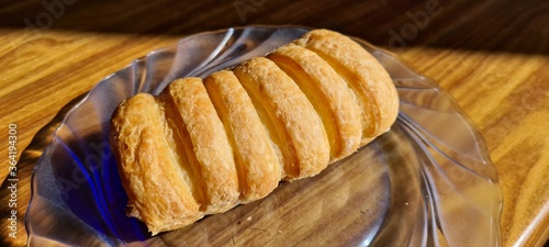 cake with chocolate, croissant, snack Fototapet